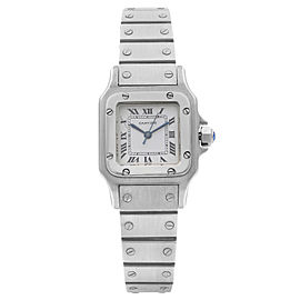 Cartier Santos Galbee 24MM Steel White Dial Automatic Ladies Watch 0901