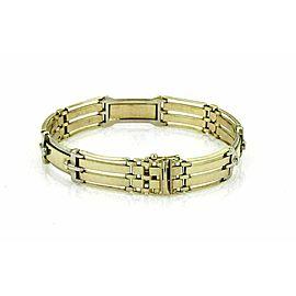 Long Curved Fancy 14k Two Tone Gold Gate Link Bracelet