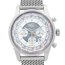 Breitling Transocean Unitime Chrono Steel White Dial Watch AB0510U0-A732-152A
