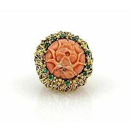J. Auen 14k Yellow Gold Coral & Emerald Large Flower Ring