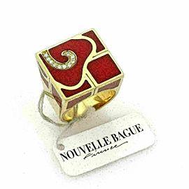 Nouvelle Bague Diamond Enamel 18k Yellow Gold Square Ring