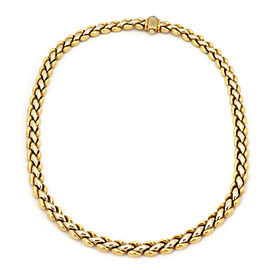 Chimento Reversible Braided Puff Link 8.3mm Wide 18k Two Tone Gold Necklace