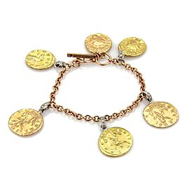 Roberto Coin Diamond 18k Tri-Color Gold 6 Coin Charms Toggle Bracelet