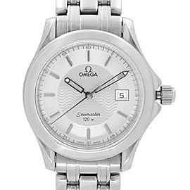 Omega Seamaster 120M 36MM Stainless Steel Silver Dial Quartz Mens Watch 196.1501