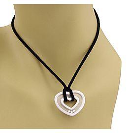 Chopard Happy Diamond 18k White Gold Heart Pendant Black Cord