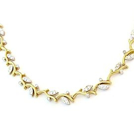 Tiffany & Co. 2 Carats Diamond Platinum 18k Gold Leaf Vine Collar Necklace