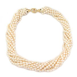 66300 Tiffany & Co. Picasso 10 Strand Natural Pearls 18k Gold Ring Clasp