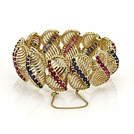 Estate 13ct Ruby & Sapphires 14k Yellow Gold Large Fancy Link Bracelet