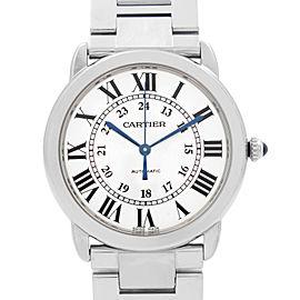 Cartier Ronde Solo 36MM Steel Silver Opaline Dial Unisex Watch WSRN0012