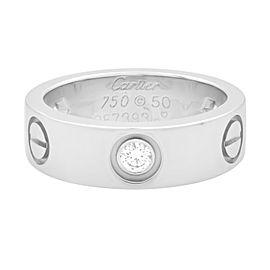 Cartier 18K White Gold 3 Diamonds Love Ring Size 50 US 5.5