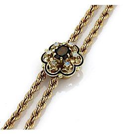 "Vintage 3.6ct Garnet & Opal 14k Yellow Gold Floral Pendant Tassel Necklace 21.5"""