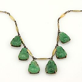 Estate 14K Yellow Gold Carved Jade Buddha Dangle Necklace