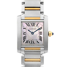 Cartier Tank Francaise Steel 18K Gold Pink MOP Dial Ladies Watch W51027Q4