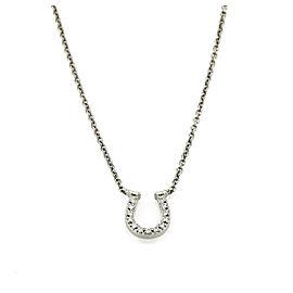 Tiffany & Co. Diamond Horseshoe 18k Gold Pendant Necklace