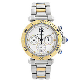 Cartier Pasha Steel Gold Chronograph Silver Dial Mens Automatic Watch W31036T6