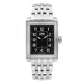 Oris Rectangular Date Steel Black Dial Mens Watch 01 561 7657 4034-07 8 21 82