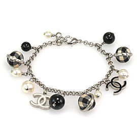 Chanel Pearls Black & White Checkered Beads C Logo Charms Silver Bracelet