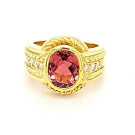 Judith Ripka Diamond Pink Tourmaline 18k Yellow Gold Ring