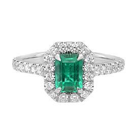 Platinum Colombian Vivid Green 0.90Ct Emerald Diamond Halo Engagement Ring