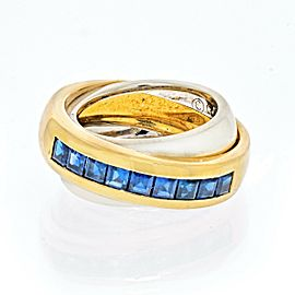 Cartier Vintage 18K Yellow & White Gold Sapphire Double Band Ring Size 50