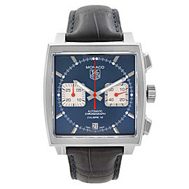 Tag Heuer Monaco Steel Leather Chronograph Blue Dial Mens Watch CAW2111.FC6183