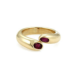 Cartier Ellipse Ruby Bypass 18k Yellow Gold Ring Size