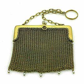 Victorian 9k Yellow Gold & Pearls Mesh Purse Bag Circa