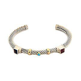 David Yurman Renaissance Sterling & 14k Yellow Gold Gems Cable Cuff Bracelet