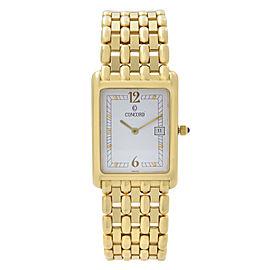 Concord Veneto 18K Yellow Gold Date White Dial Quartz Mens Watch 50-46-625