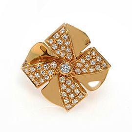 Luca Carati Yellow Gold Diamond Flower Cocktail Ring 0.71Cttw Size 7.5 C1BB