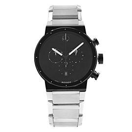 Movado Synergy Museum Chronograph Steel Black Dial Quartz Mens Watch 0606800
