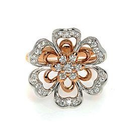 Luca Carati 18K Rose Gold Diamond Flower Cocktail Ring Size 7 0.68Cttw C080