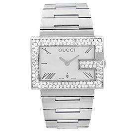 Gucci 100M Steel Rectangular Custom Diamond G-Bezel White Dial Unisex Watch