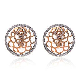 Luca Carati 18K Rose & White Gold Floral Diamond Earrings 1.57Cttw