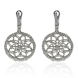 Luca Carati 18K White Gold Diamond Medium Drop Earrings 2.66Cttw