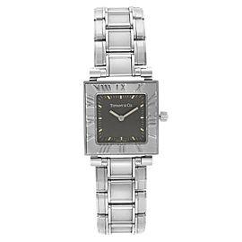 Tiffany & Co. Atlas 23mm Square Stainless Steel Black Dial Ladies Quartz Watch