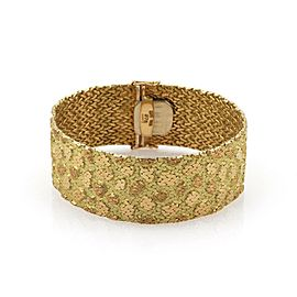 Estate 18k Yellow Gold 22.5mm Wide Nugget Style Textured Bracelet