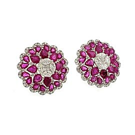 Estate 12.94ct Diamond Ruby 18k White Gold Round Floral Post Clip Earrings