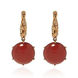 Luca Carati 18K Rose Gold Red Agate Diamond Drop Earrings 0.10Cttw