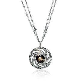 Luca Carati 18K White Gold Smoky Quartz & Diamond Pendant Necklace 1.24Cttw