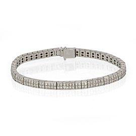 H. Stern 7.10ct Princess Cut Diamond 18k White Gold 5mm Tennis Bracelet