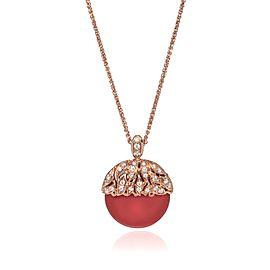Luca Carati 18K Rose Gold Red Agate Diamond Pendant Necklace 0.30Cttw
