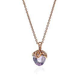Luca Carati 18K Rose Gold Purple Amethyst & Diamond Pendant Necklace 0.21Cttw