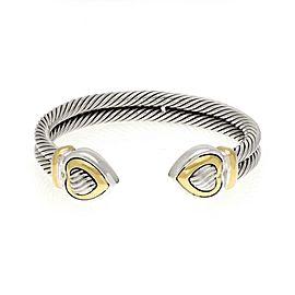 David Yurman Sterling & 18k Yellow Gold Double Cable Hearts Cuff Bracelet