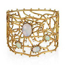 """Estate 6.20ct Opal & Diamond 18k Yellow Gold 2.05"""" Wide Fancy Bracelet"""