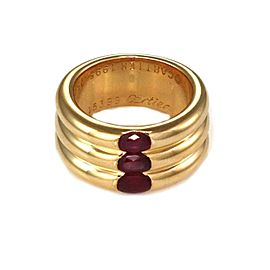 65072Cartier Ellipse 2.25ct Ruby 18k Gold 3 Stack Dome Band Size EU 50