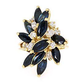 Estate 7.00ct Diamond & Sapphire 18k Yellow Gold Cluster Ring Size 7.5
