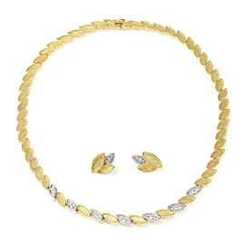 18k Two Tone Gold Diamond Chasing Leaf Link Stud Earrings & Necklace Set
