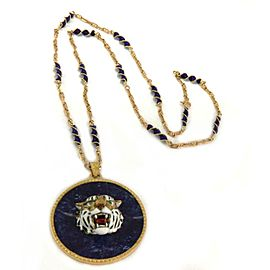 Estate Lapis Enamel 18k Yellow Gold 3D Tiger Head Round Pendant & Chain