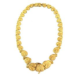 Estate 18k Yellow Gold Graduated Chasing Leaf Collar Necklace
